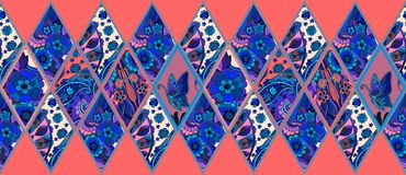 Ethnic patchwork pattern from ornamental rhombuses with flowers, butterfly and paisley. Royalty Free Stock Photos