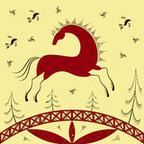 Ethnic pattern. Abstract ethnic pattern, tribal background, red horse. Mezen painting. Vector illustration. eps10 Stock Photography