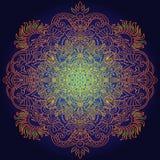 Ethnic pattern. Authentic orange mandala print on black background. Vector illustration. Royalty Free Stock Image