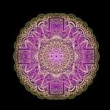 Ethnic pattern. Authentic purple mandala print on black background. Vector illustration. Royalty Free Stock Photography