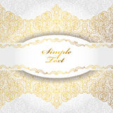 Ethnic pattern background.Tribal lace,label.Gold,white Royalty Free Stock Images