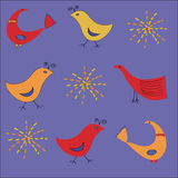 Ethnic pattern with birds in warm colors Royalty Free Stock Photo