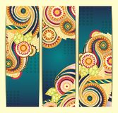 Ethnic Pattern Cards With Paisley Doodles. Stock Photos