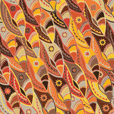 Ethnic pattern in earth tones with motifs of a dance shield of the Kikuyu people of central Kenya. Stock Image
