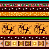 Ethnic pattern with elephants. In the African style Stock Photo