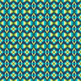 Ethnic pattern with geometric motifs. Blue color Stock Illustration