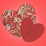 Ethnic pattern hearts frame. Cards Royalty Free Stock Photo