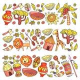 Ethnic pattern kids fabric, textile, nursery wallpaper. Vector illustration. African animals, tribal elements for little. Children, kids stock illustration