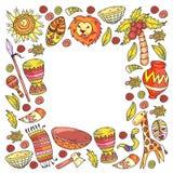 Ethnic pattern kids fabric, textile, nursery wallpaper. Vector illustration. African animals, tribal elements for little. Children, kids royalty free illustration