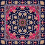 Ethnic pattern with mandala. Silk scarf. Beautiful rug. Vector print Stock Images