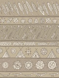Ethnic pattern with ornamental stripes with arrows, feathers, ho Royalty Free Stock Photos