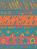 Ethnic pattern with ornamental stripes with arrows, feathers, ho vector illustration