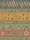 Ethnic pattern with ornamental stripes with arrows, feathers, ho Royalty Free Stock Photo