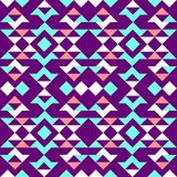 Ethnic pattern of triangles. Blue, red, white, on a purple background stock illustration
