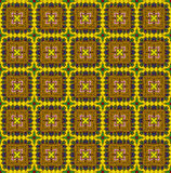 Ethnic pattern in yellow tones. Abstract kaleidoscope fabric design Royalty Free Stock Photo