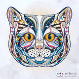 Ethnic patterned head of cat Stock Photography