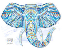 Ethnic patterned head of elephant. On the grange background/ african / indian / totem / tattoo design. Use for print, posters, t-shirts vector illustration