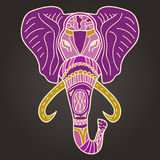 Ethnic patterned head of elephant pink vector illustration