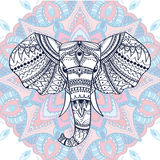 Ethnic patterned head of indian elephant. Vector illustration. Use for print, posters, t-shirts or any other kind design Royalty Free Stock Image