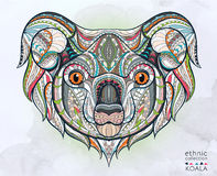 Ethnic patterned head of koala royalty free illustration