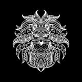 Ethnic patterned head of lion. Hand drawing illustration. Black background royalty free illustration
