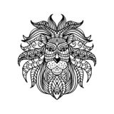 Ethnic patterned head of lion. Hand drawing illustration. Black and white vector illustration