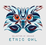 Ethnic patterned head of owl on the grey background / african / indian / totem / tattoo design. Use for print, posters, t-shirts. Ethnic patterned head of owl stock illustration