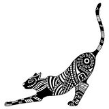 Ethnic patterned ornate decorative cat silhouette. Black and white hand drawn doodle  illustration. Royalty Free Stock Image