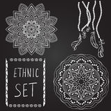 Ethnic patterns on black background. Stock Image