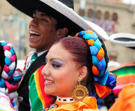 Ethnic people on the fiesta in Bolivia Royalty Free Stock Photography