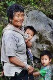 Ethnic People of India. An old tribal woman with her grand child in the remote village of arunachal pradesh in India Royalty Free Stock Photography