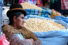 Ethnic people on the steep streets in La Paz Royalty Free Stock Image