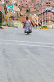 Ethnic people on the steep streets in La Paz Stock Photos