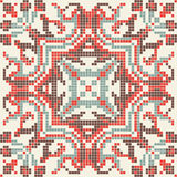 Ethnic pixel seamless pattern embroidery, traditional geometric design, fabric element of folk indian culture Royalty Free Stock Photo