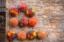 Ethnic Rajasthan turbans. Colorful ethnic Rajasthan turbans on market at Jaisalmer fort, Rajasthan, India Royalty Free Stock Photos