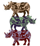 Ethnic rhino. Rhinoceros in ethnic style with a white background Stock Photography
