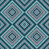 Ethnic rhombus blue tribal seamless pattern Stock Photography
