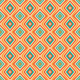 Ethnic rhombus pattern in retro colors, aztec style seamless. Background Royalty Free Stock Photo