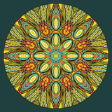 Ethnic Round Element. Design element with abstract bright ethnic round pattern. Tribal mandala in stained glass style. Symmetric ornament Royalty Free Stock Photography