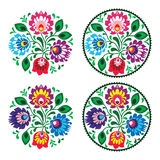 Ethnic round embroidery with flowers - traditional vintage pattern from Poland. Polish folk decoration elements - colorful paper catouts art royalty free illustration