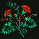A beautiful ethnic Russian floral pattern with cloves on black background. stock illustration