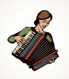 Lady plays the accordion. Vector drawing. Ethnic russian young fun talent smile lady skill bellow harmonic key chord on white. Bright color drawn happy human vector illustration