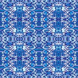 Ethnic seamless blue geometric pattern tile design surface stock images