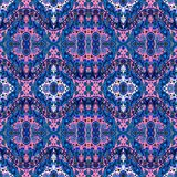 Ethnic seamless bohemian pattern with flowers and paisley ornament. Royalty Free Stock Images
