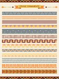 Ethnic seamless ornaments and pattern brushes Royalty Free Stock Image