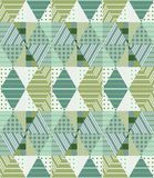 Ethnic seamless patchwork pattern in green tones. Geometric tribal ornament. Can be used for wallpapers, textiles, fabrics, textures, wrapping paper. Golf stock illustration