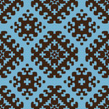 Ethnic seamless pattern background in brown and bl Stock Photography