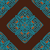 Ethnic seamless pattern background in brown and blue colors Royalty Free Stock Image