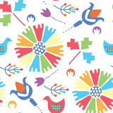 Ethnic seamless pattern with birds and flowers tra Royalty Free Stock Photos