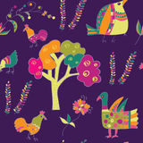 Ethnic seamless pattern with birds. Traditional culture Royalty Free Stock Images